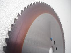 Carbide Tipped and Cermet Tipped saw blades are available with or without PVD coatings. Coated blades offer huge performance gains over high speed steel and friction saws with extended blade life and reduced stress on the cutting inserts.